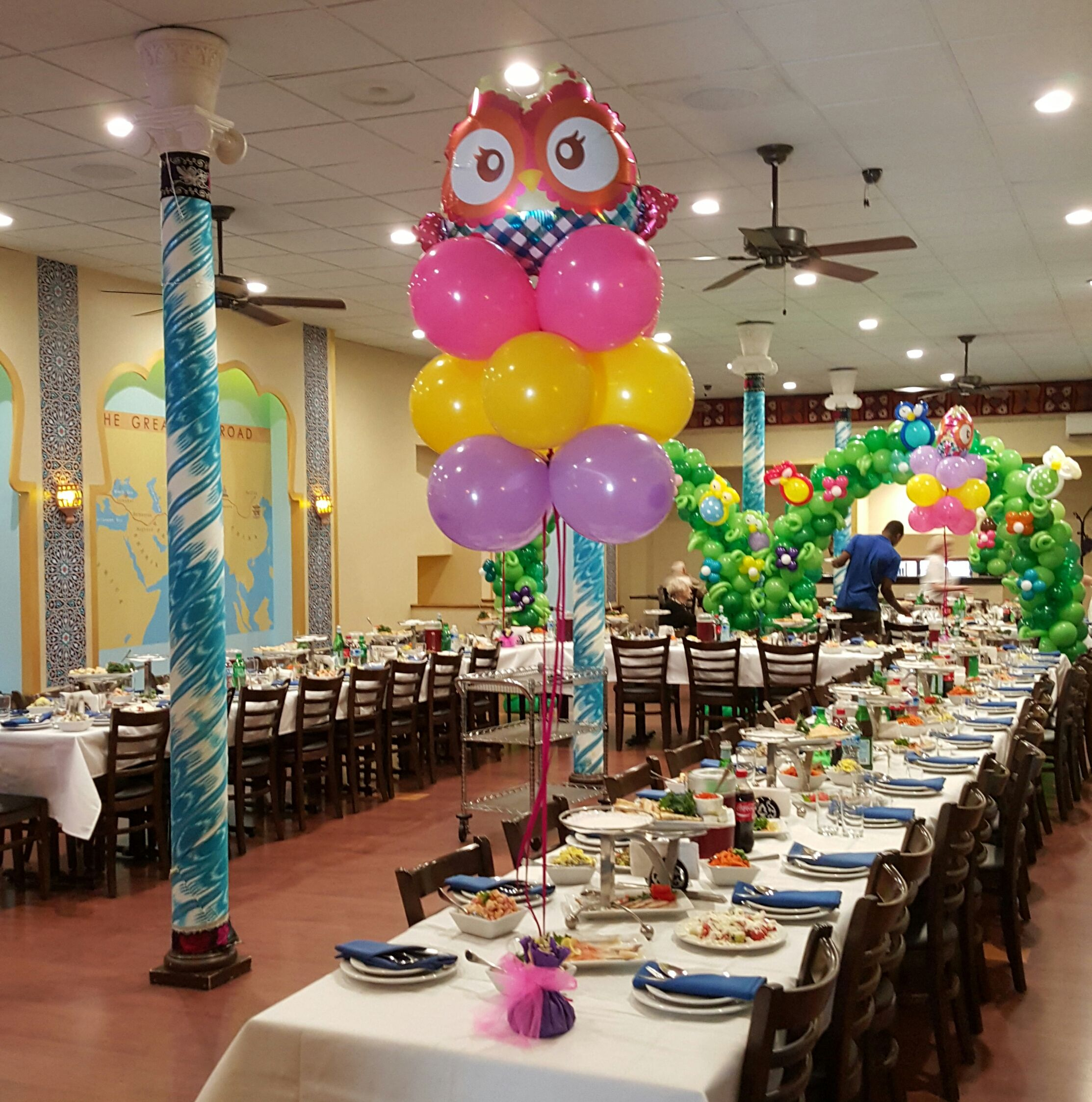 Owl balloon centerpieces pink yellow and purple by extra