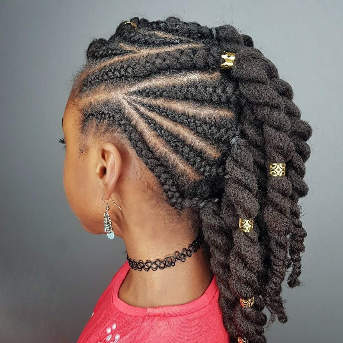 Side Braids Twists Hairstyles For Black Girls Natural Hairstyles For Kids Kids Braided Hairstyles Black Kids Hairstyles