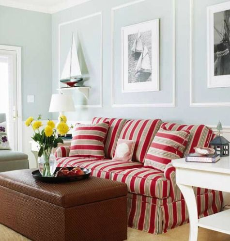 Nautical Living Room Colors With Red Striped Sofa Pletely