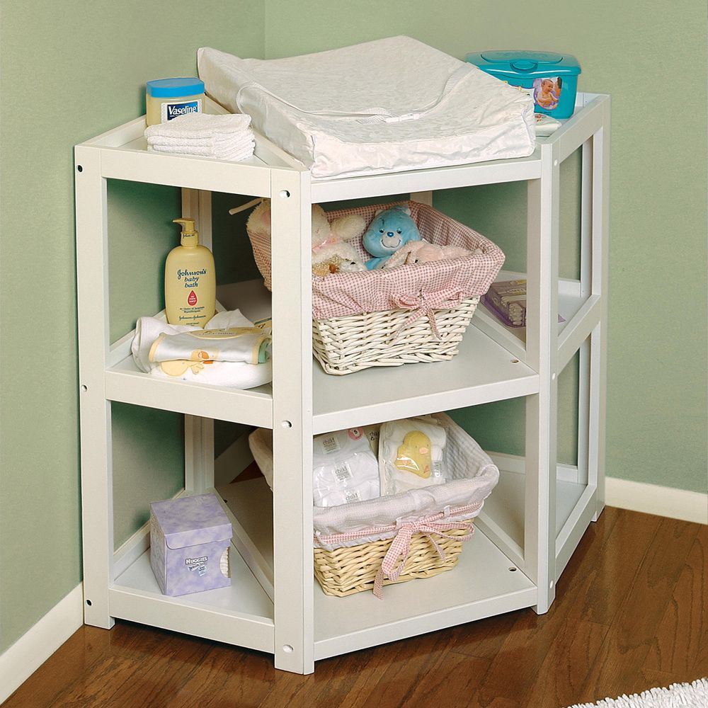 Badger Basket White Diaper Corner Changing Table Ping The Best Deals