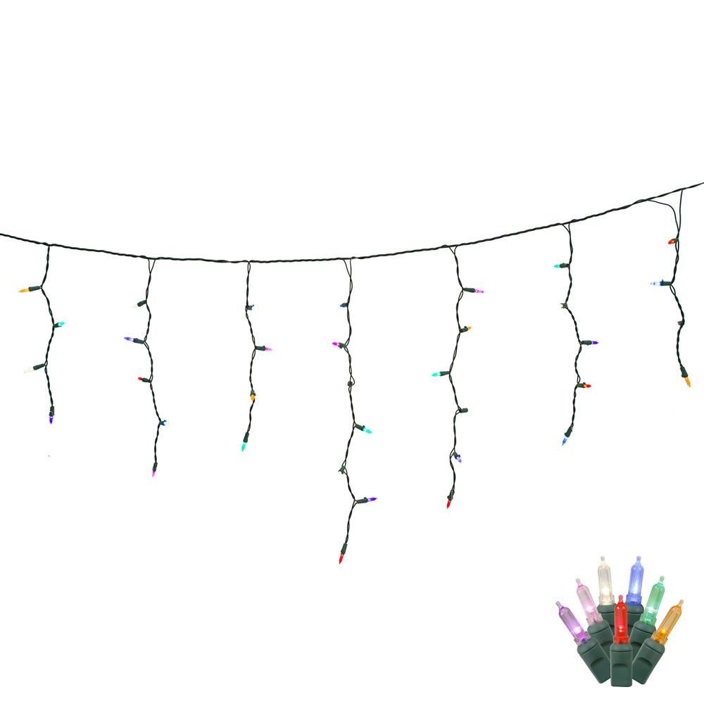 70 Multi Color LED Lights / Green Wire 9Ft. Icicle Christmas Light ...