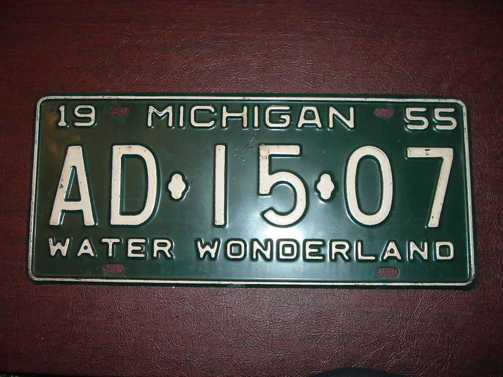 1955 Michigan License Plate Original Unrestored Passenger Car Used