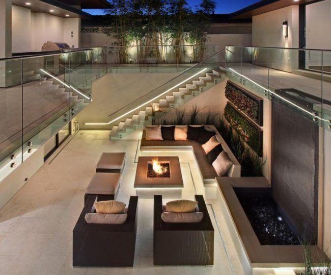moderne terrasse gas feuerstelle led streifen indirekte beleuchtung feuerstelle pinterest. Black Bedroom Furniture Sets. Home Design Ideas