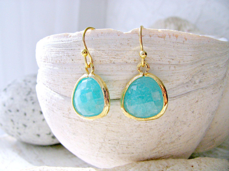 Mint Earrings,Blue Mint Earrings,Mint jewelry,Ocean Blue,Beach Wedding,Mint Bridesmaid Earrings,Bridesmaid Gift,Wedding,Gold Dangle Earrings by LetItBeLove on Etsy
