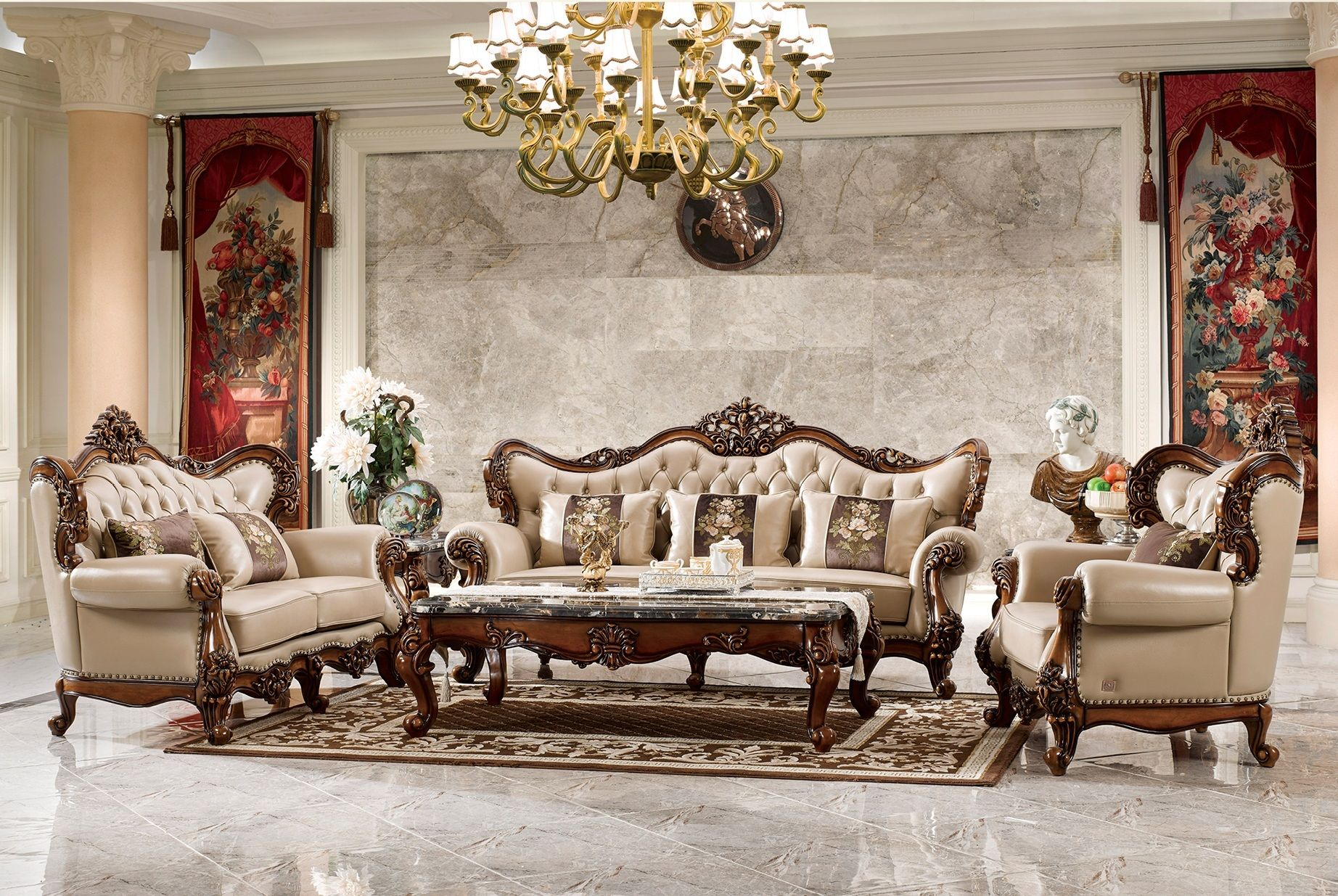 Ma Xiaoying Genuine Leather Traditional Collection Living Room Furniture Sets Sofa Loveseat And Chair And 2t Furnitur Mewah Furnitur Ruang Keluarga Set Sofa