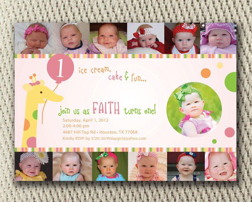 Custom Birthday Invitation Sweet Girl 1st Birthday Photo Collage – Birthday Invitation Cards for Baby Girl