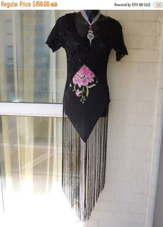 65c99e53eeb CLEARANCE Stunning Sheer OOAK Black Lace Pink Rose Piano Shawl Fringe Lace  Boho Gypsy Stevie Nicks Top by GlamourZoya on Etsy