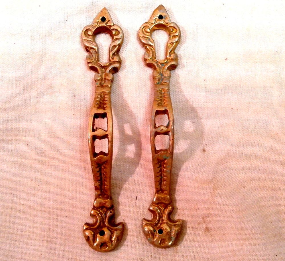 2 VTG Vertical Victorian Cast Brass Key Hole Covers For China Cabinet Door  Pull #VictorianElegance