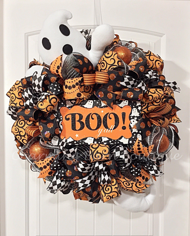 Reserved For Julie, Halloween Wreath, Front Door Wreath, Boo Yall,