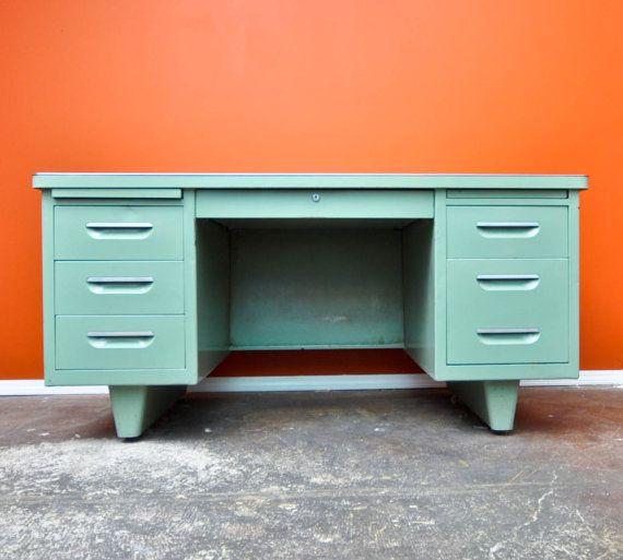 Mint Green Tanker Desk By Steelcase Neatovintage On Etsy