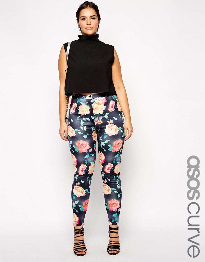 Image 1 of ASOS CURVE High Waist Skinny Pant In Scuba Floral