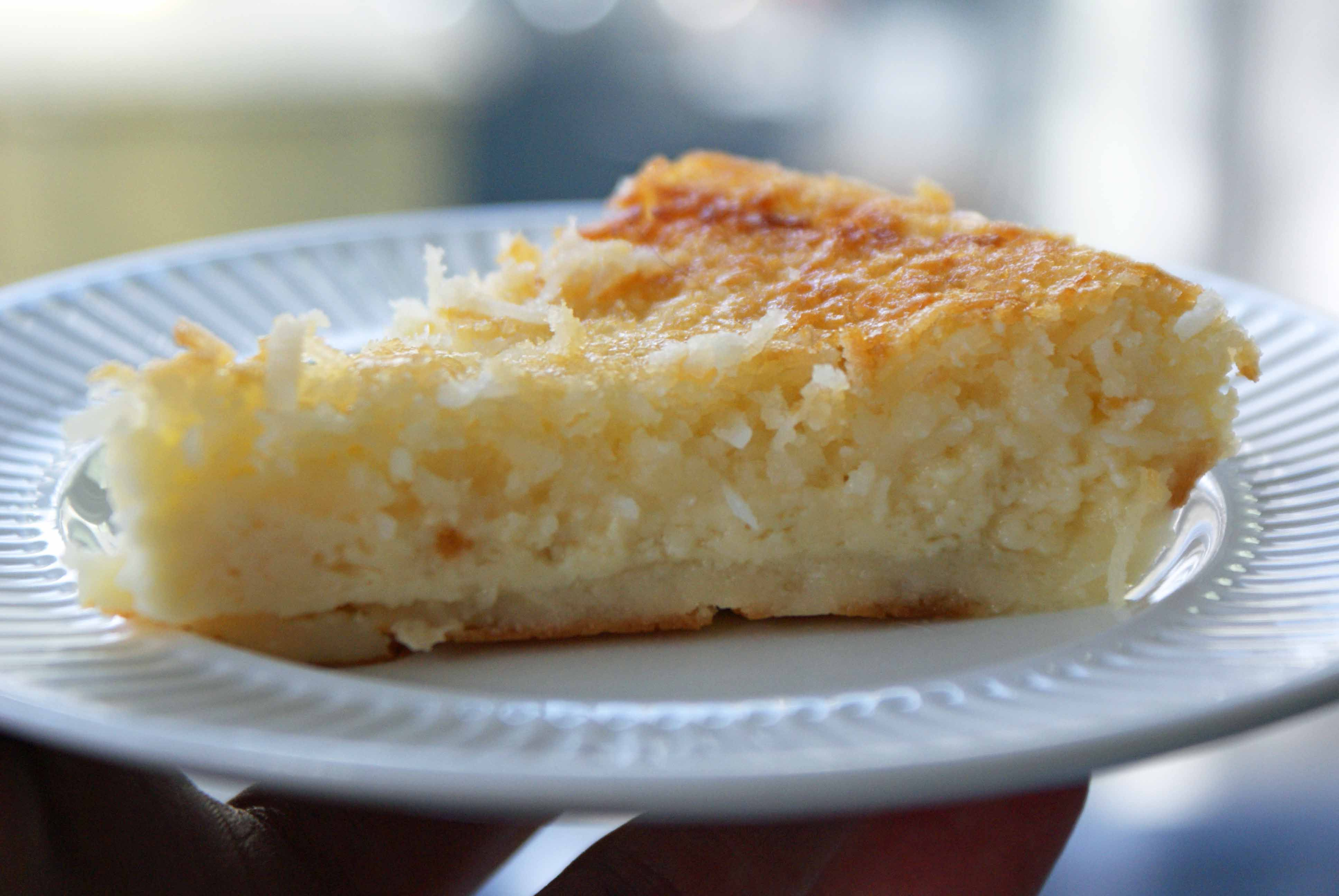 Impossible Coconut Pie...all you do is combine the ingredients and bake. Like magic it layers into crust, custard, coconut topping. Cool!