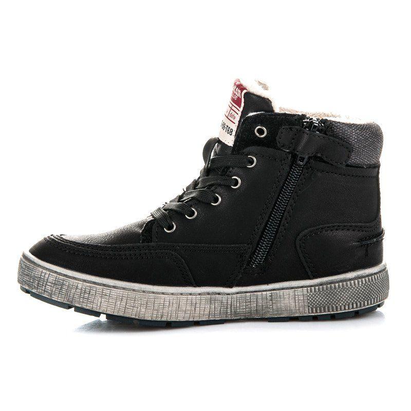 American Club Ocieplane Obuwie Sportowe Czarne High Top Sneakers Shoes Sneakers