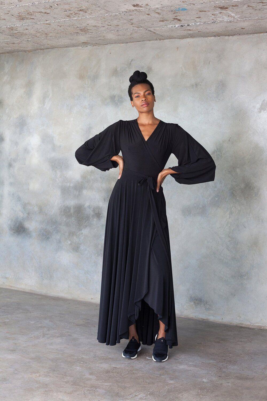 Erre Dancing Lady Wrap Maxi Dress In Black Maxi Wrap Dress Maxi Dress Dresses [ 1500 x 1000 Pixel ]