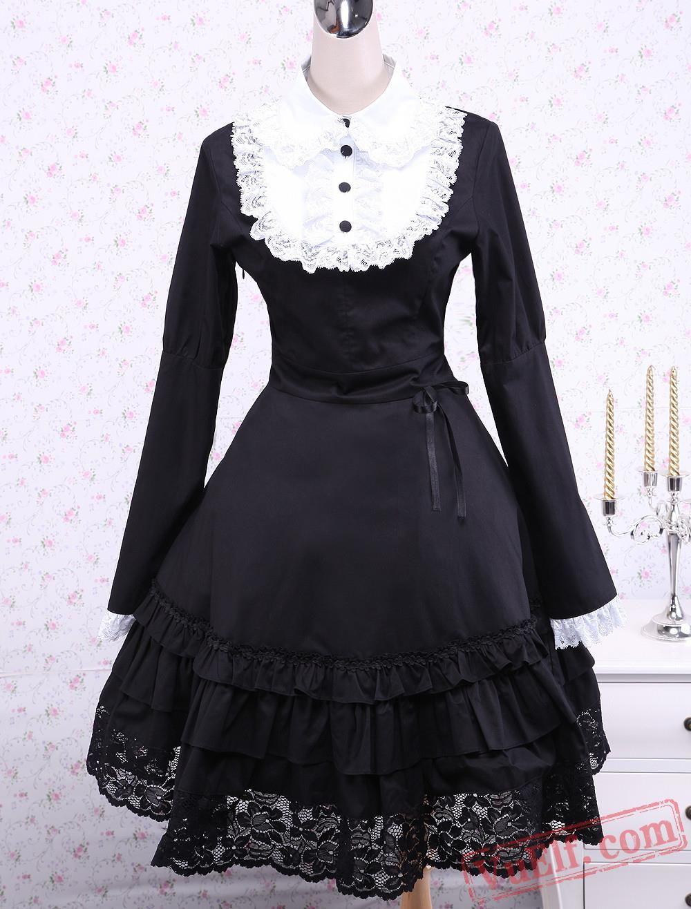 Black cotton lace long sleeves ruffle gothic lolita dress gothic