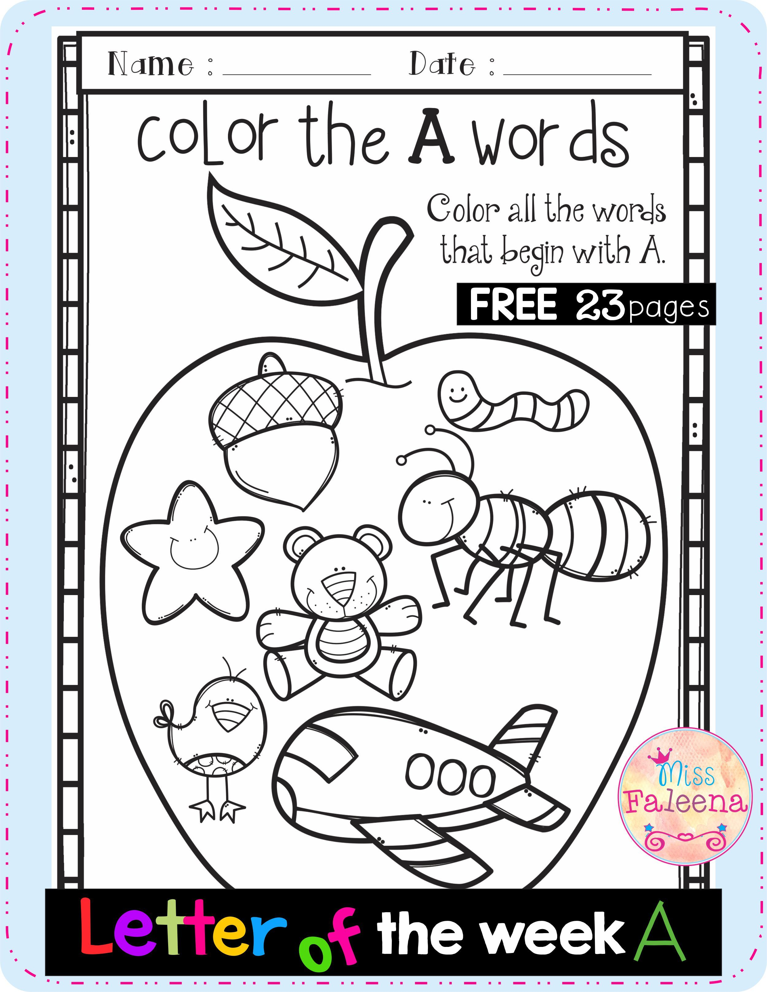 Free Alphabet Letter Of The Week A In