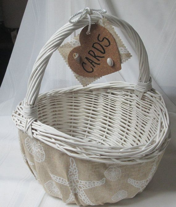 Large White Wicker Beach Nautical Wedding Card Basket Matches With A Listing For Ring Pillow