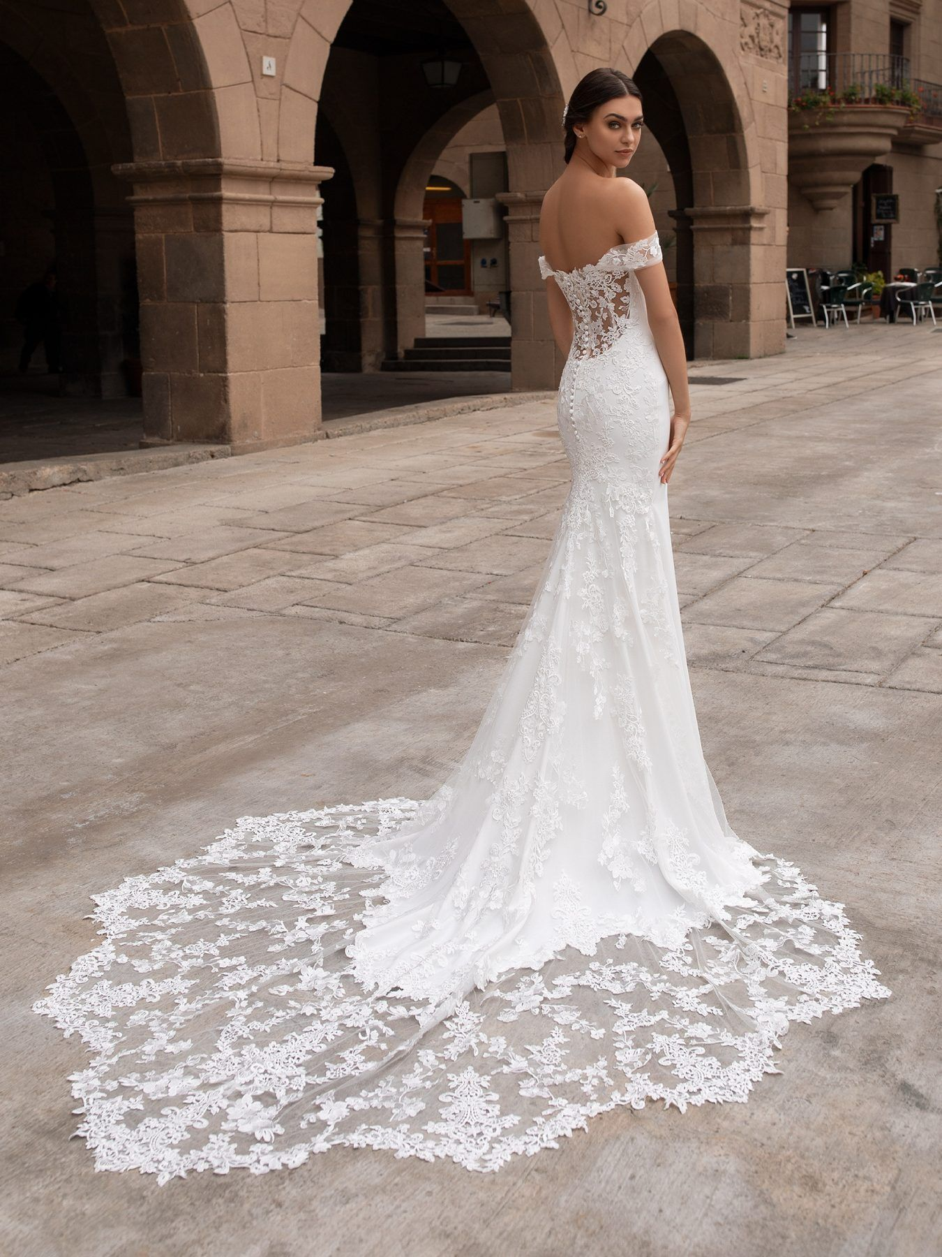 Off-the-shoulder Crepe Fit And Flare Wedding Dress With Lace Accented Train