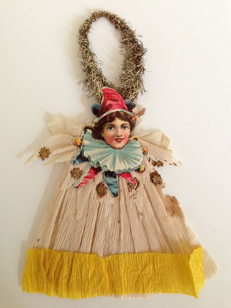 Antique Scrap And Crepe Paper Tinsel Christmas Ornament ...