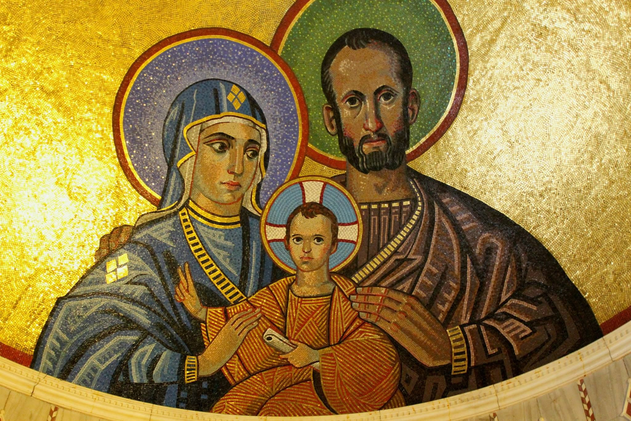 St Joseph, Jesus and Mary, Westminster Cathedral, London.