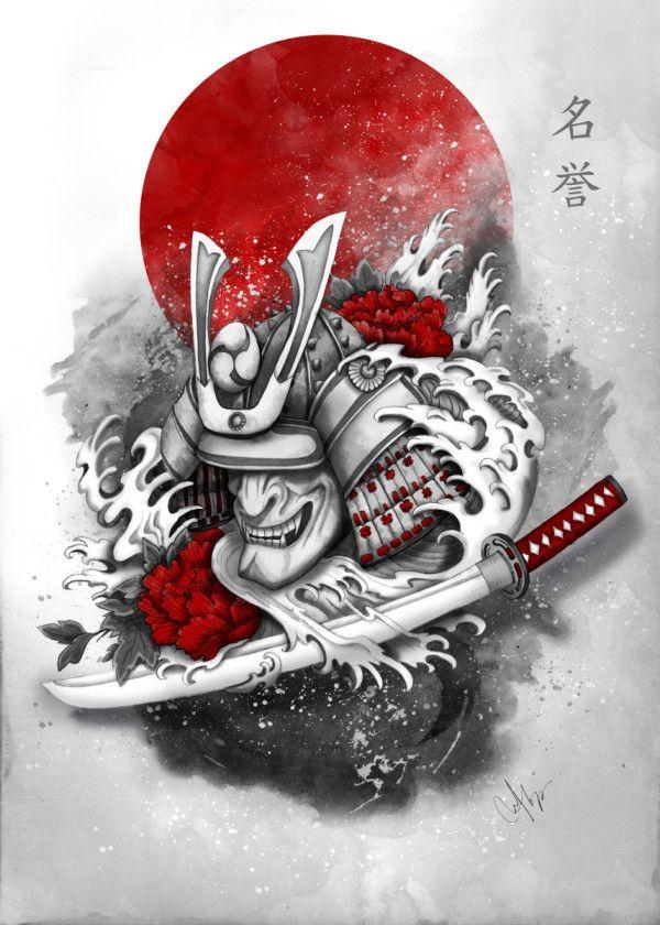 Honor Poster Print By Marine Loup Displate In 2020 Japanese Tattoo Designs Samurai Tattoo Design Japanese Tattoo Art