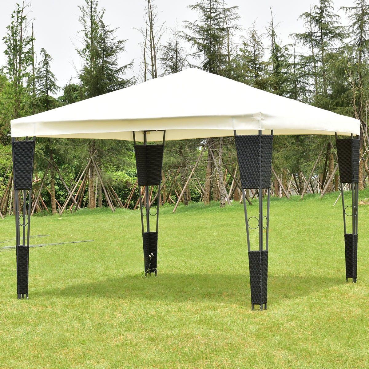 Outdoor 10 X 10 Rattan Wicker Gazebo Canopy Gazebo Canopy Gazebo Canopy Tent Outdoor