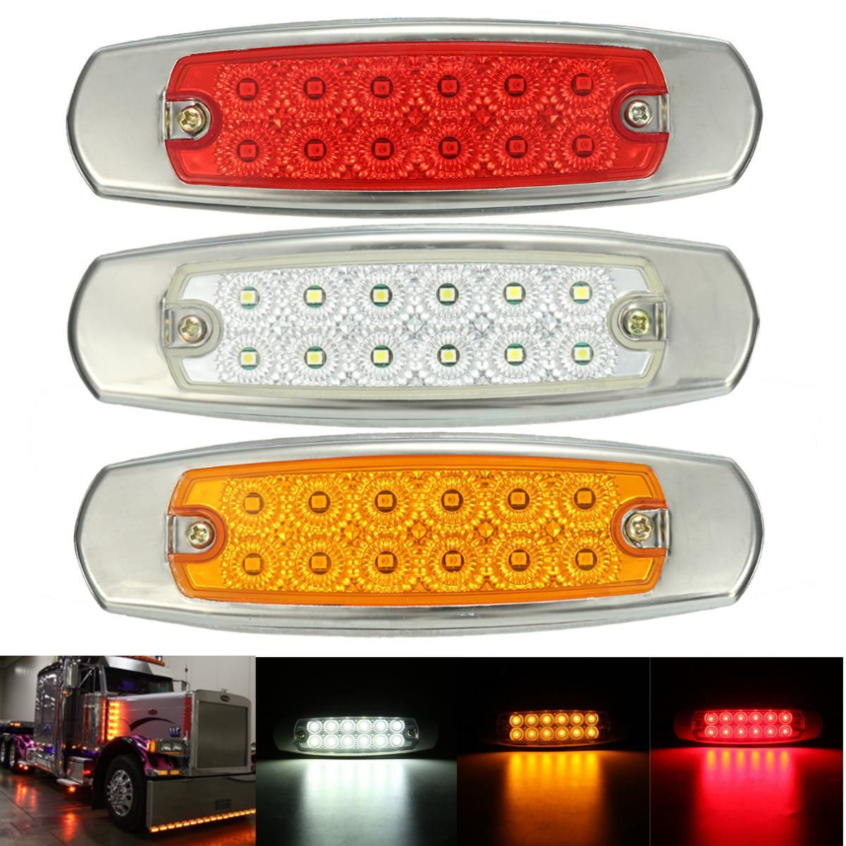 1pcs Universal 12v Dc 12 Led Side Marker Indicator Light Lamp Truck Trailers Lorry Bus Truck And Trailer Indicator Lights Lorry