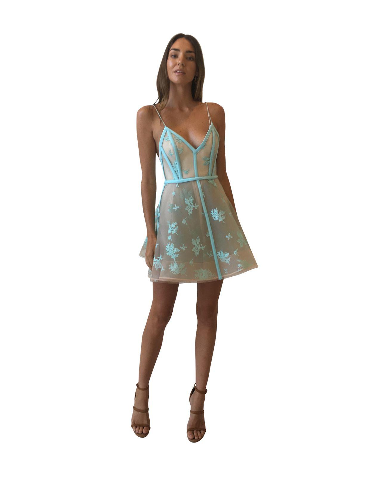 22749700fbd1 Alex Perry Codie Lace Crinoline Bikini Mini Dress with Slip in Aqua - Alex  Perry