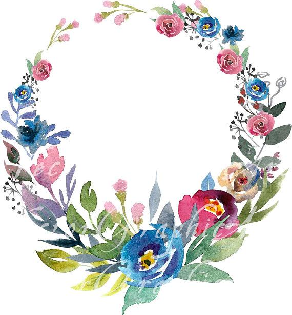 Floral Round Frame Watercolor Floral Clipart 1 Frame Bonus