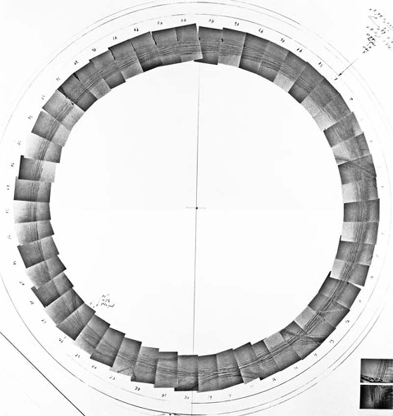 In 1969, American artist Michael Heizer drove a motorcycle in circles in Jean Dry Lake, Nevada. The tire tracks created a pattern of circular lines, creating an ephemeral land-art piece. A set of photographs describes the process from a close point of view: the camera was strapped to a ladder...