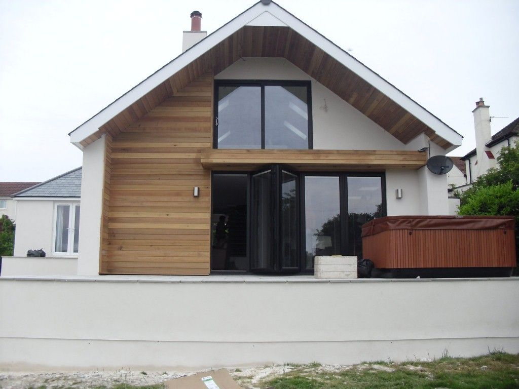 its that lovely overhang again and a mixture of white and pale wood which - Bungalow Conversion Ideas