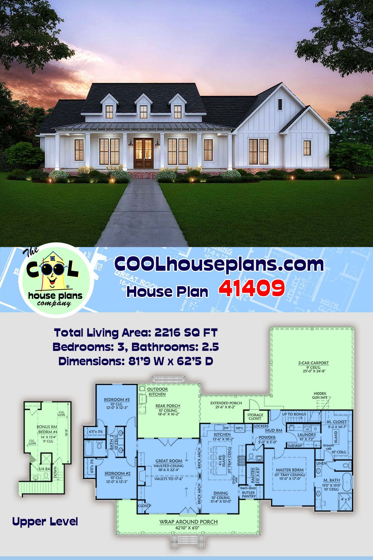 Southern Style House Plan 41409 With 3 Bed 3 Bath 2 Car Garage Farmhouse Plans House Plans House Plans Farmhouse