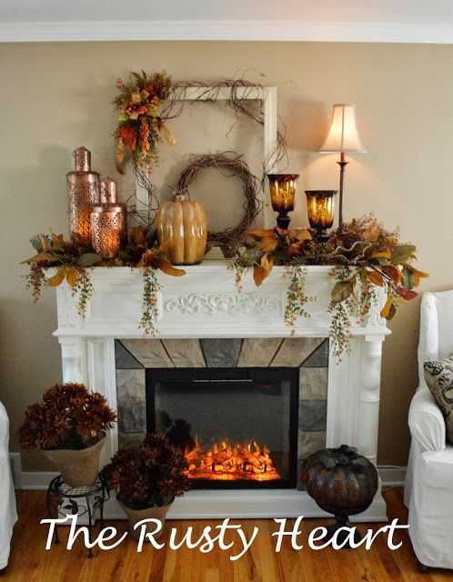 Fall Mantel #fallmantledecor