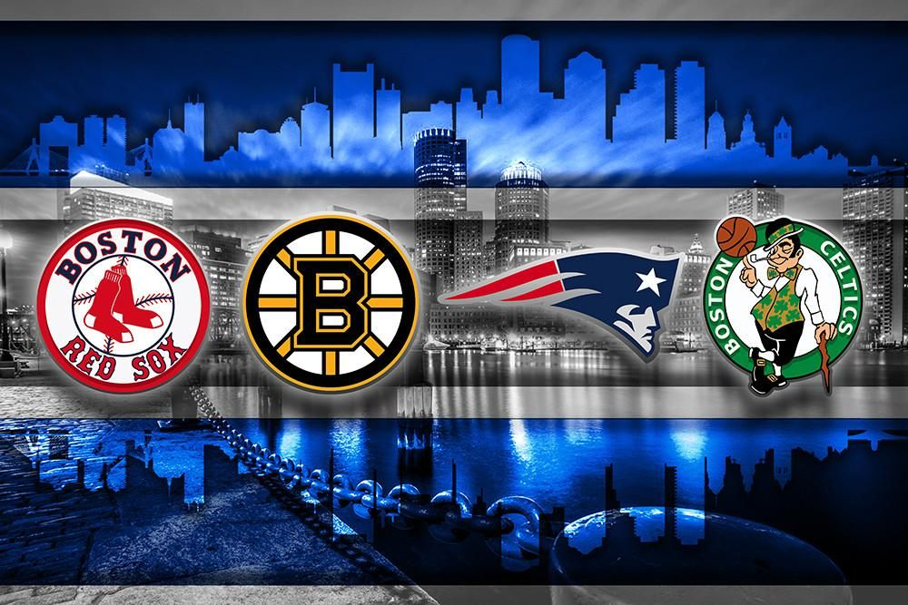 Boston Sports Teams In Front 2 Of Skyline Poster New England Patriots Boston Celtics Bruins Red Sox Man Cave Gift Boston Sports New England Patriots New England