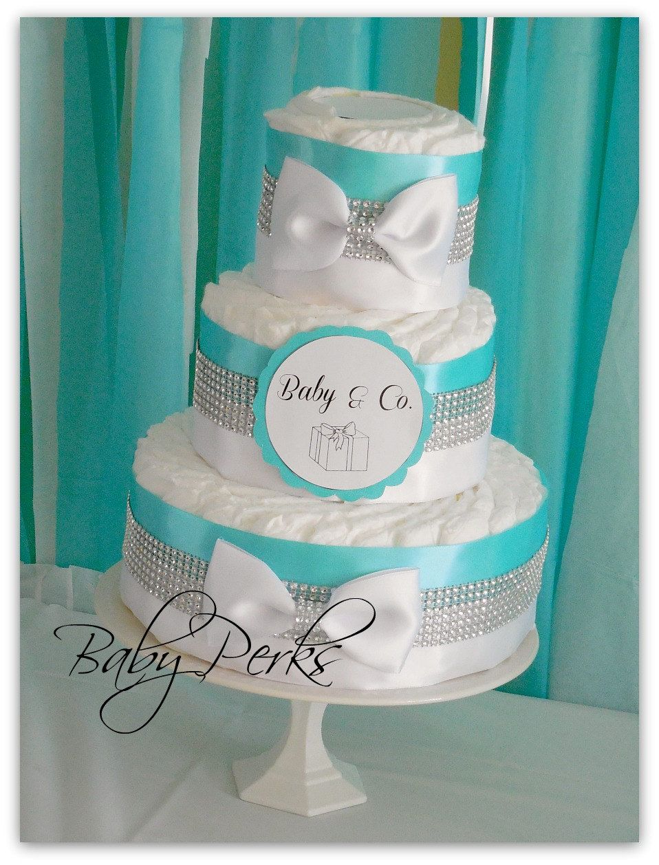 Tiffany And Co. Inspired Diaper Cake, Baby And Co, Tiffany And Co Baby  Shower , Tiffany Blue Diaper Cake Baby Shower Decorations