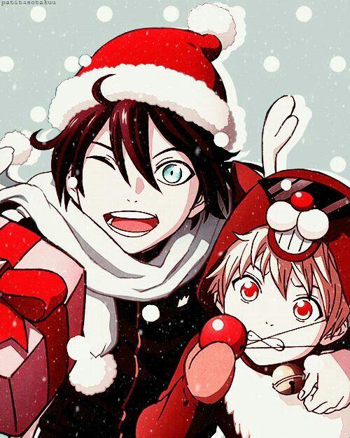 Merry Christmas, Yukine, Yato, Santa hat, reindeer antlers, cute ...