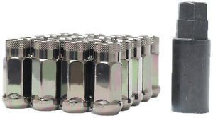 Thread Pitch 1.75 Long Chrome Duplex Bulge Cone Seat Lug Nut Installation Kit 20 Nuts 9//16 R.H 22mm Hex