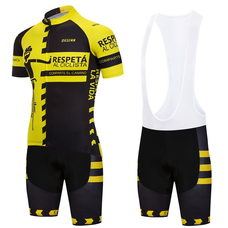 2018 Yellow Mens Team Racing Full Zipper Jersey and Bib Shorts Sets Pad  Unique  Unbranded fc4a4c37e