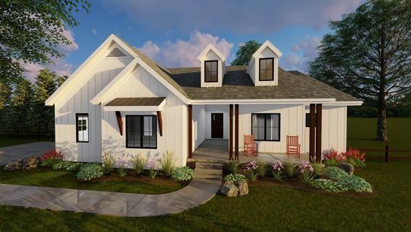 1 story modern farmhouse house plan copperden