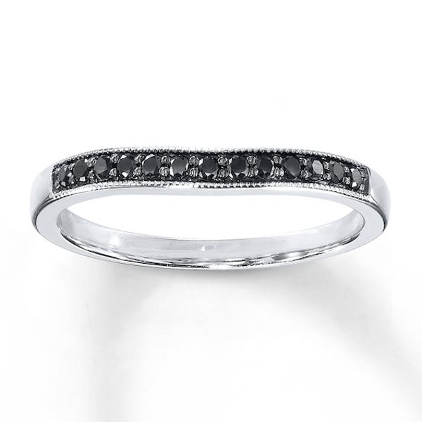 Black Diamonds 1/8 ct tw Wedding Band 10K White Gold