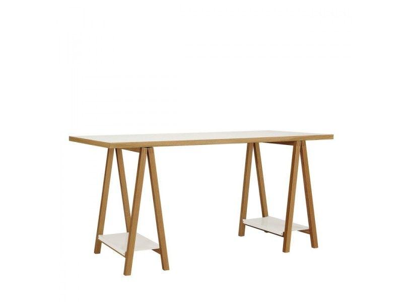 Bureau à tréteaux blanc et bois highbury couleur blanc chêne