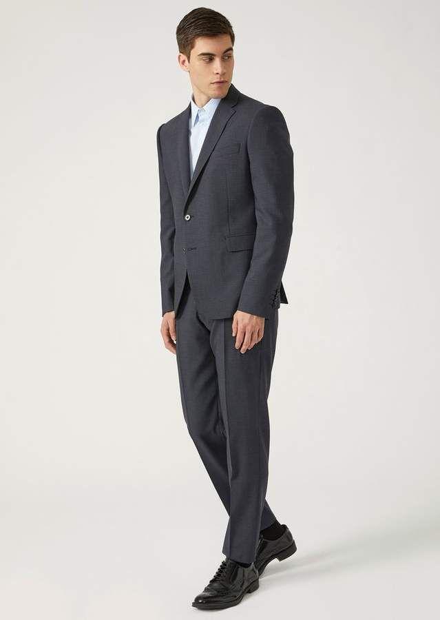 8e5edeeb35 Emporio Armani Slim Fit Suit In Stretch Virgin Wool Fabric With ...