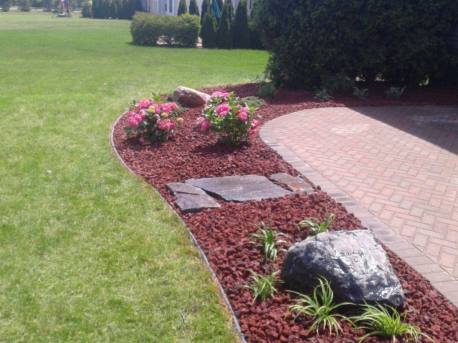 Lava rock landscape brick paver patio design for Rock landscaping ideas