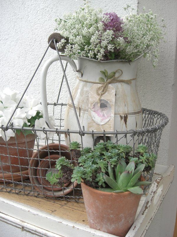 jardin garden brocante pot fleur plante panier