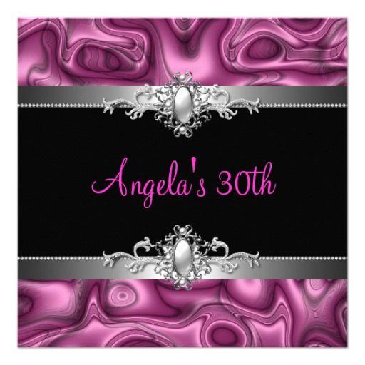 30th Birthday Party Pink Silver Black Abstract Invitations #PinkAndBlackObsession