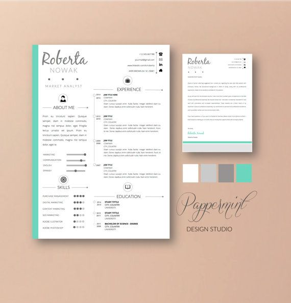 Resume Template With Cover Letter For Word Instant Download Diy Printable Pack Teacher Resume Template Resume Cover Letter Template Cover Letter For Resume