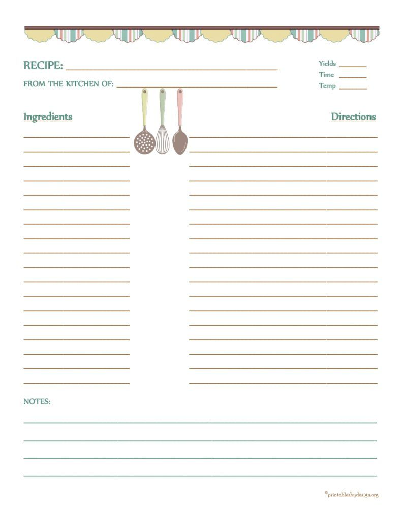 Country Banner Recipe Card   X  Recipe Template