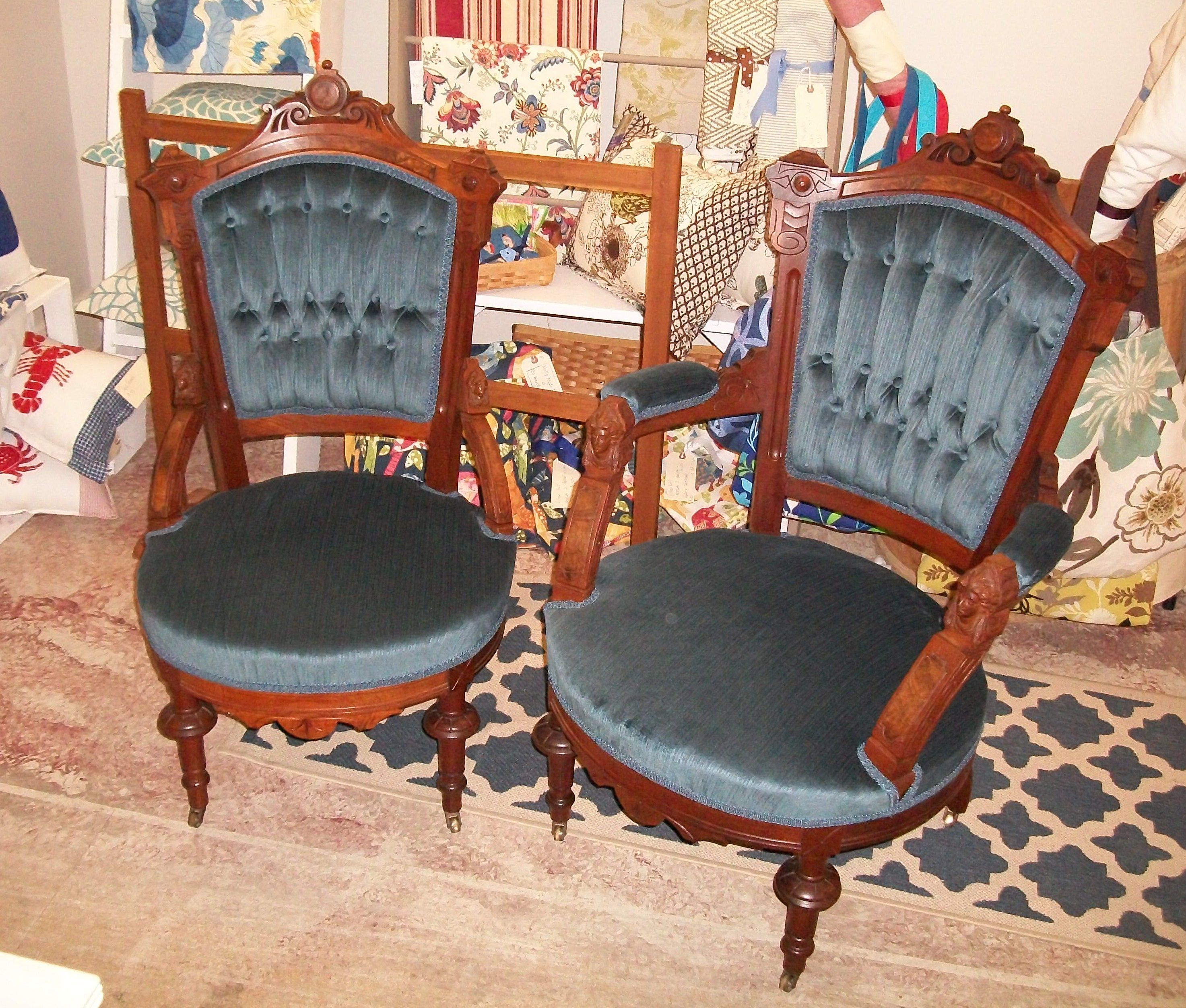 Freshly Upholstered Victorian Chairs, By Ravenwood Furniture And Upholstery.