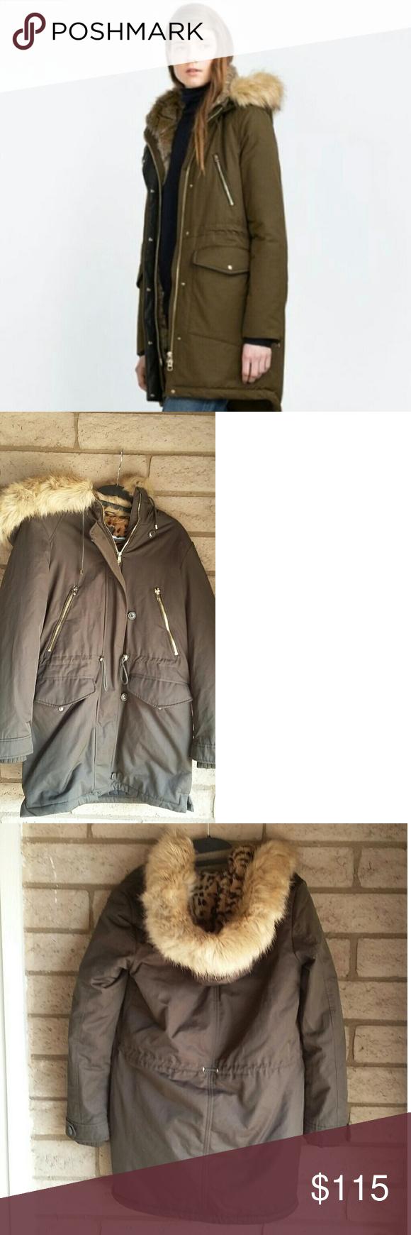 Zara Trafaluc Water Resistent Faux Fur Hooded Coat Faux Fur Hooded Coat Raincoats For Women Fur Hood Coat [ 1740 x 580 Pixel ]
