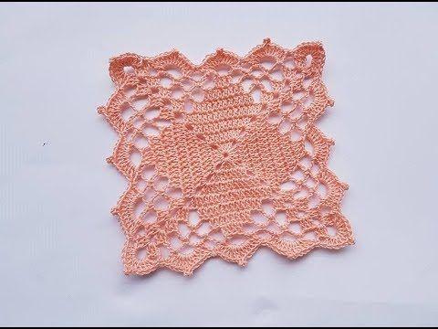 Tutorial mattonella con rombi all uncinetto crochet square with